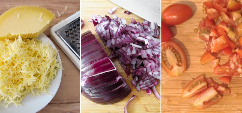 Käse raspeln - Zwiebeln klein hacken - Tomaten schneiden