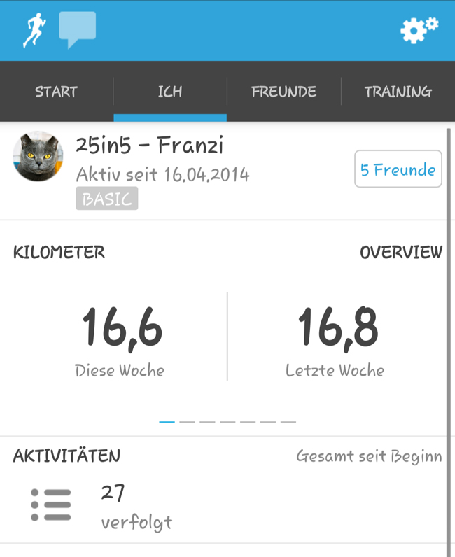 Screenshot: Übersicht gelaufene Kilometer vergangene Woche und die Woche davor