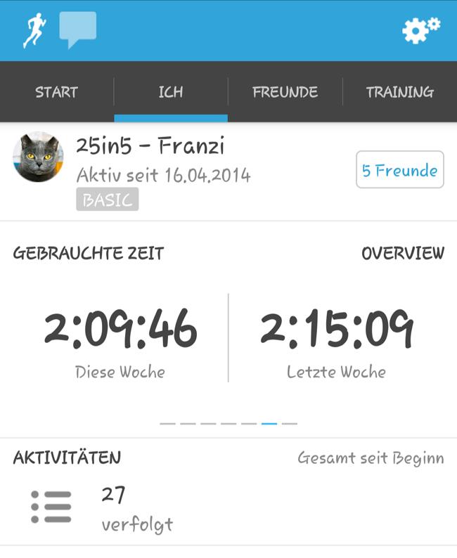 Screenshot: Übersicht gelaufene Zeit vergangene Woche und die Woche davor