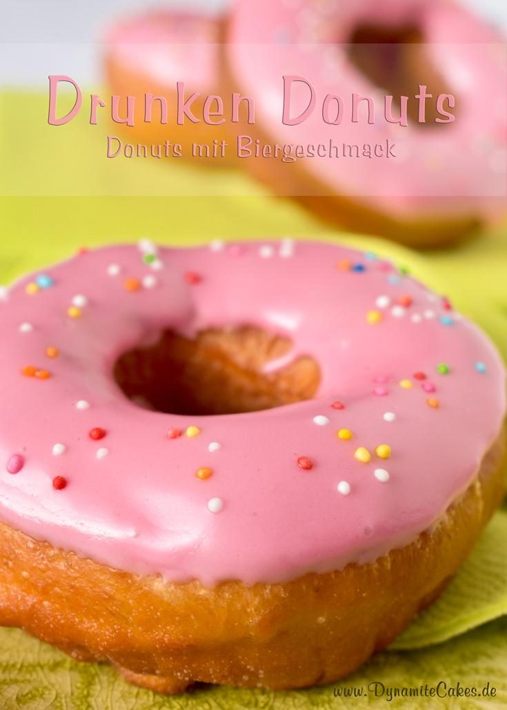 Drunken Donuts - die pinkglasierten Donuts mit Biergeschmack auf DynamiteCakes.de