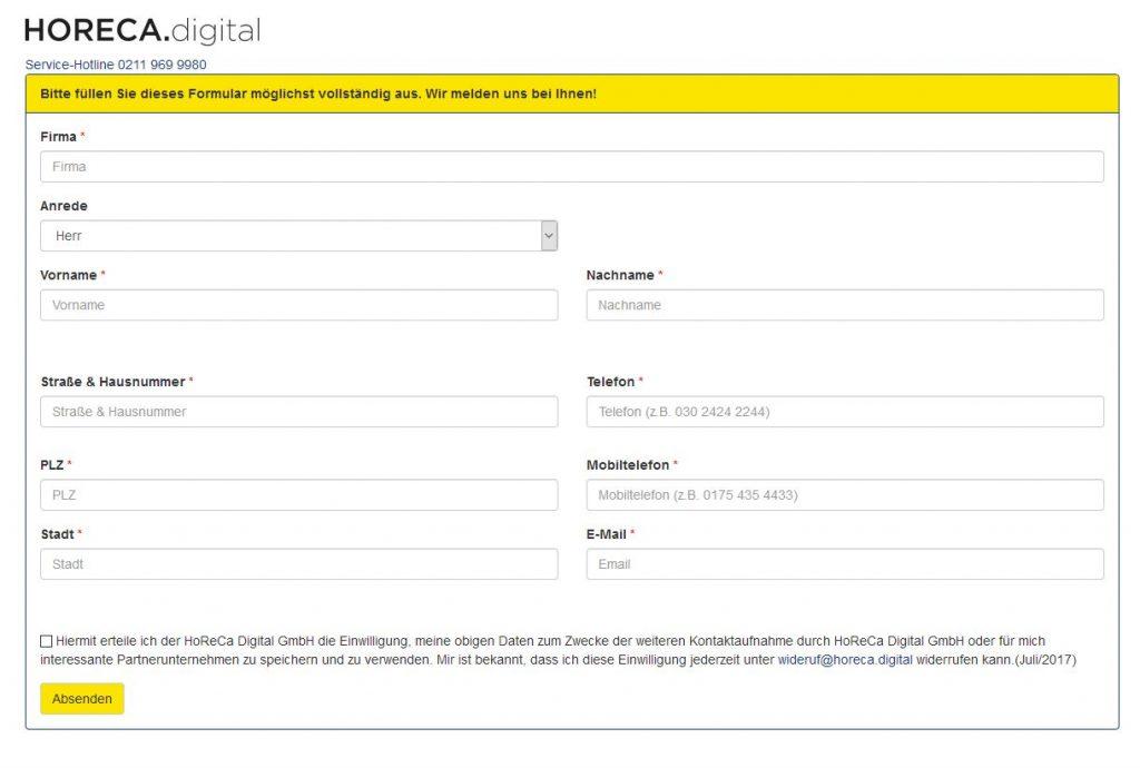 Anmeldeformular zur kostenlosen Webseite der Metro
